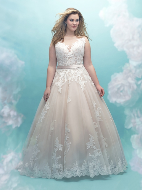 8bc30866957 This lace A-line is a timeless and beautiful ballgown for brides looking  for a little romance in their bridal look. We love the pretty satin ribbon  detail ...